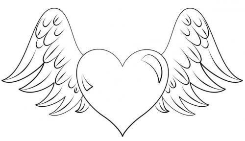 cuore con le ali da colorare