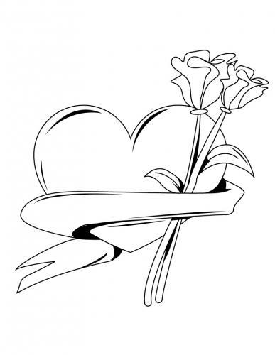 cuore e rose da colorare