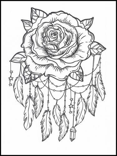 disegni acchiappasogni con rosa