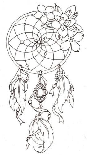 disegni acchiappasogni piume e fiori