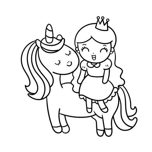 disegni unicorno e principessa