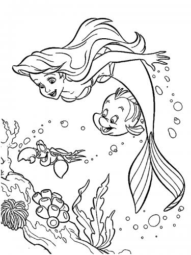 Ariel nuota con Flounders e Sebastian