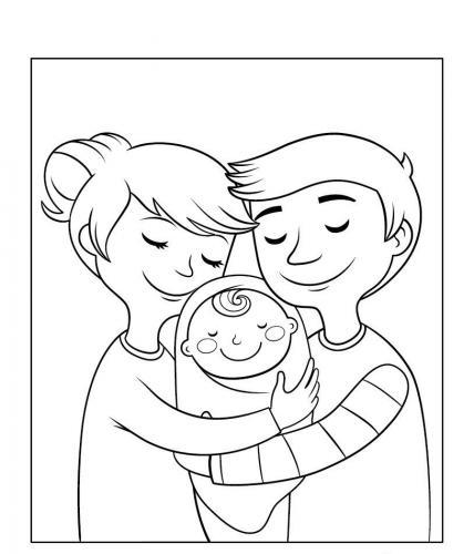 neonato con i genitori
