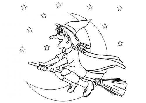 Befana che vola tra Luna e stelle