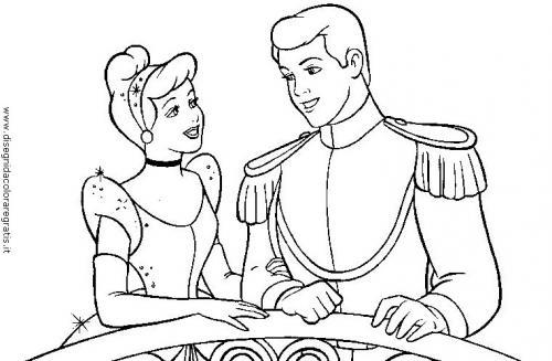 Cenerentola e il principe da colorare
