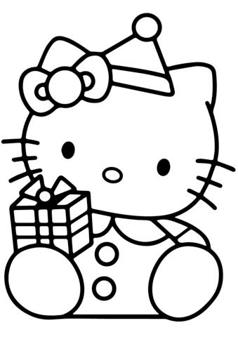 disegni da colorare di hello kitty di natale