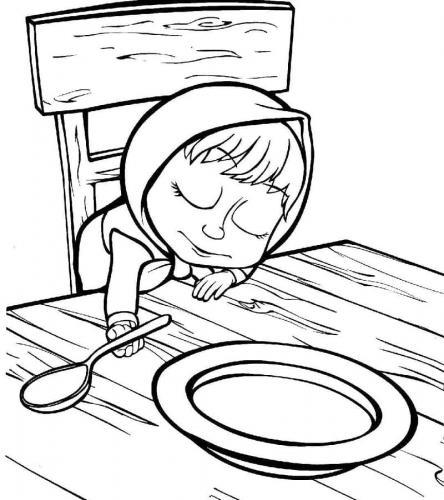 Masha che dorme sul tavolo di Orso