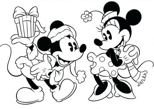 disegni da colorare di minnie e topolino a natale