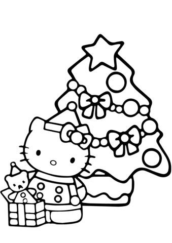 disegni da colorare di natale hello kitty
