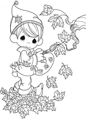bambino che disegna foglie d'autunno