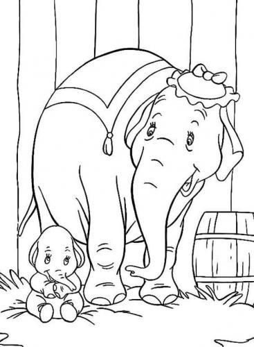 disegni da colorare e stampare Dumbo mamma