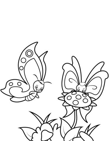 disegni da colorare fiori e farfalle
