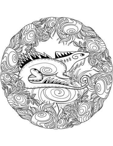 disegni da colorare mandala lucertola