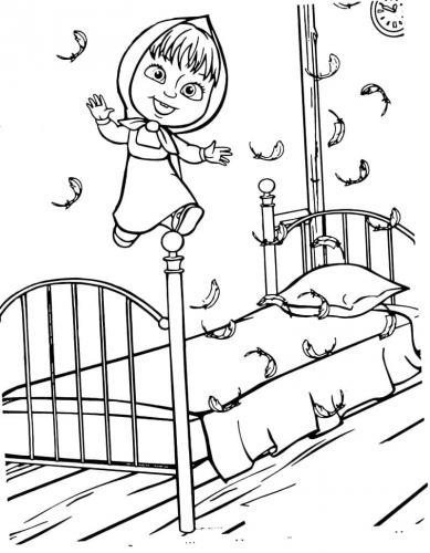 Masha salta sul letto di Orso