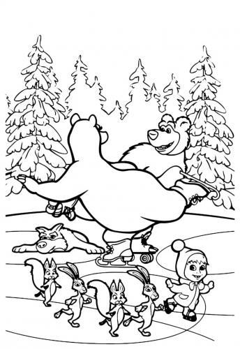 Orso e Orsa pattinano insieme agli altri personaggi