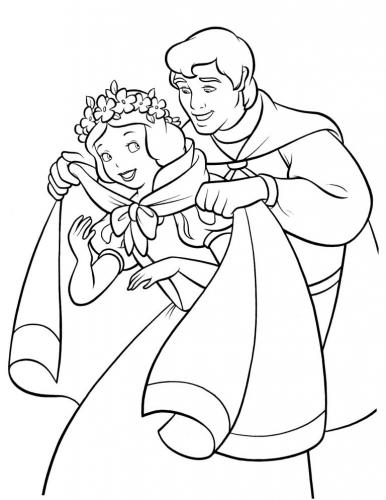 disegni da colorare della principesse Biancaneve con il princioe