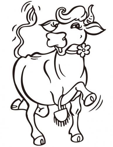 mucca con un fiore