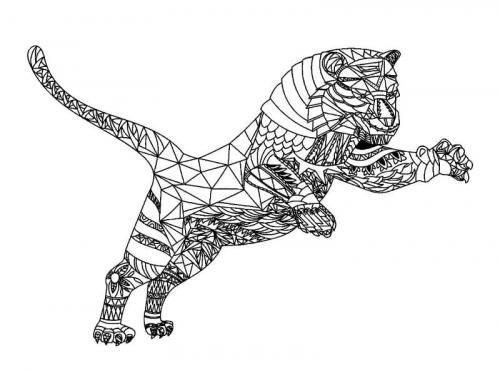 disegni da stampare e colorare tigre mandala