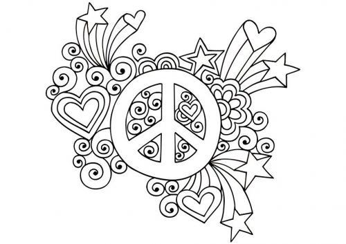 simbolo della pace con cuori