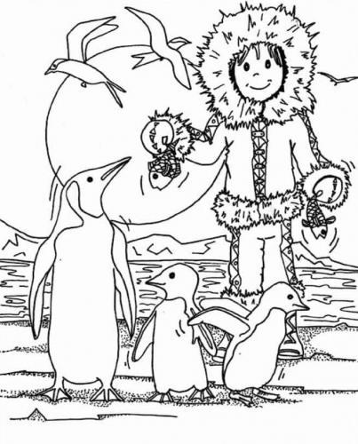 pinguini con un bambino