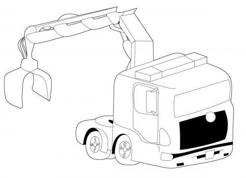 disegni di camion con gru da colorare