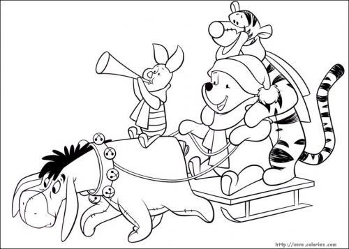 Winnie the Pooh, Tigro, Pimpi e Ih Oh sullo slittino