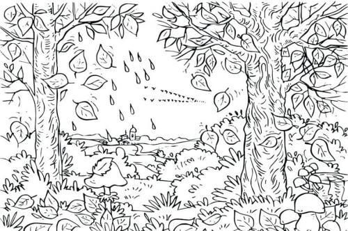 disegno bello di alberi in autunno