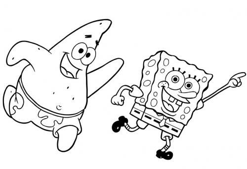 Patrick e Spongebob corrono felici