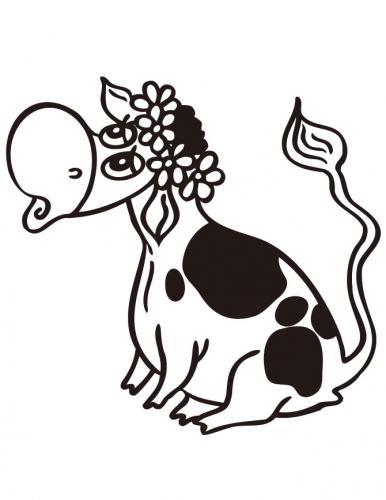 mucca con i fiori