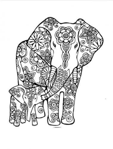 disegni mandala elefante