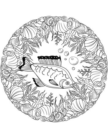 disegni mandala pesce