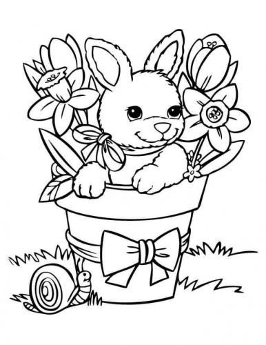 coniglio nel vaso con i fiori