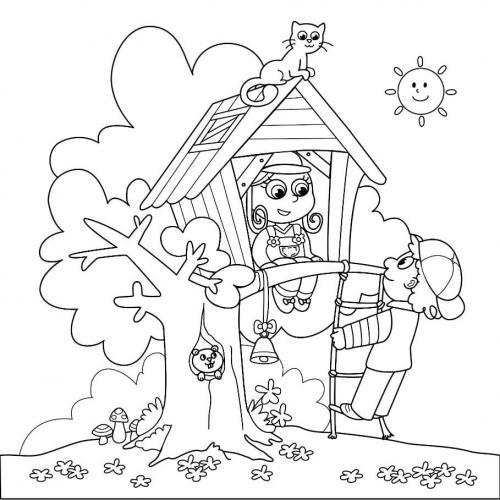disegno di una casa sull'albero