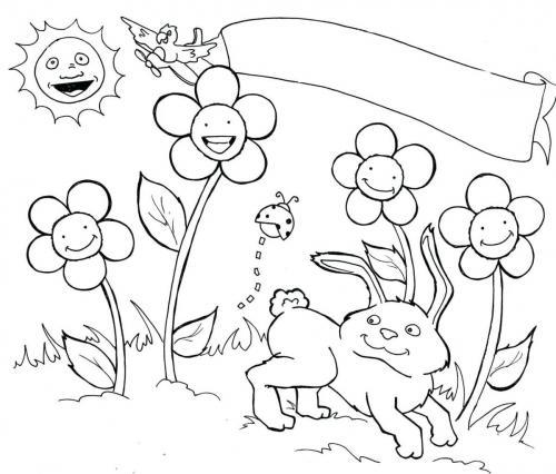 coniglio tra i fiori di primavera