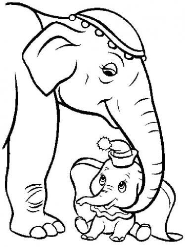 disegni per bambini Dumbo mamma