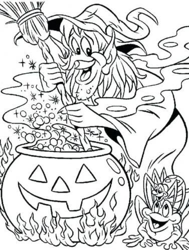 disegno strega di Halloween