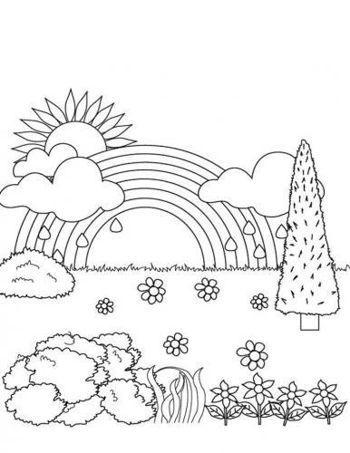 disegno paesaggio e arcobaleno
