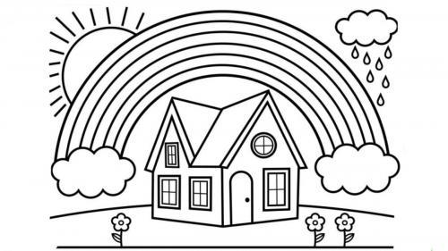 arcobaleno con una casa