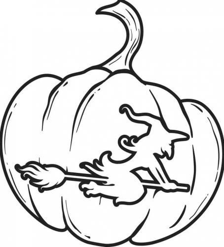 strega disegnata sulla zucca