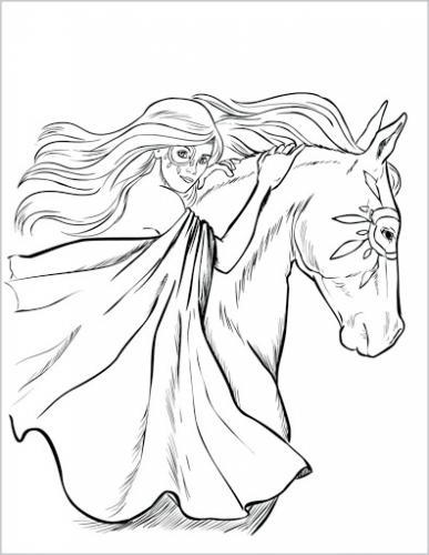 disegno a matita da colorare cavallo