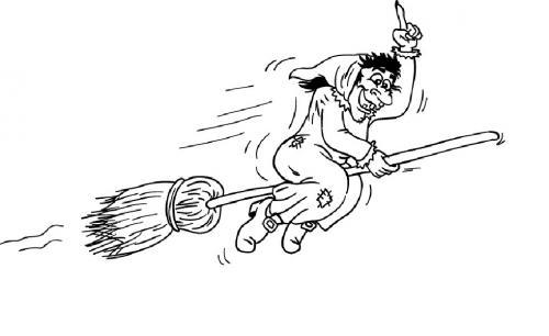 Befana con la scopa che vola veloce