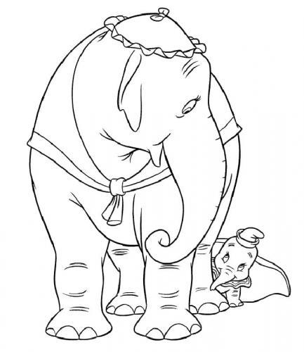 disegno da colorare Dumbo mamma