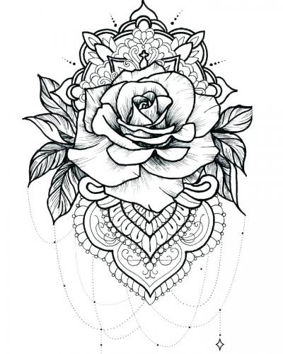 disegno di rosa per tatuaggio