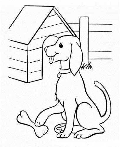 disegno di un cane con osso