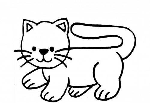 disegno gatto facile da colorare