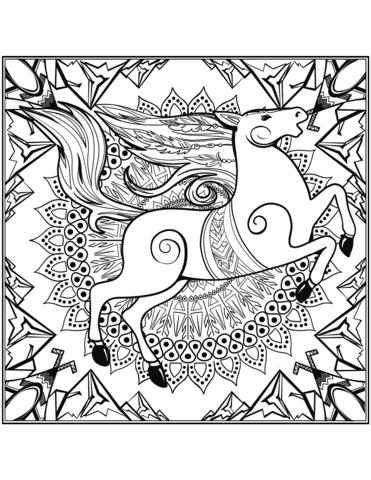 disegno mandala da colorare cavallo