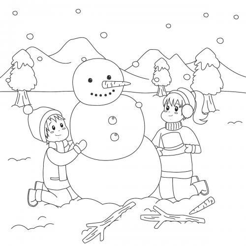 bambini con un pupazzo di neve