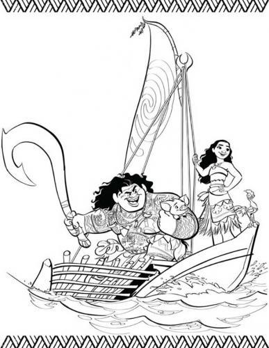 Vaiana sulla barca