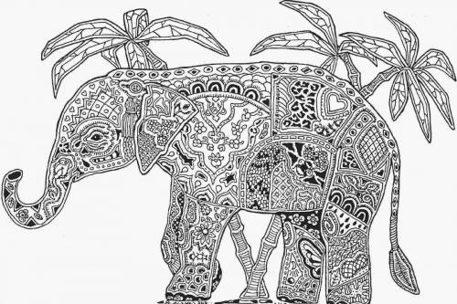 elefante stilizzato paesaggio