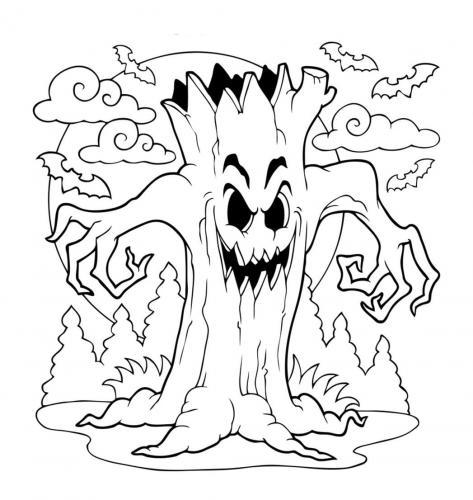 albero pauroso di Halloween